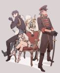 4boys alternate_hairstyle black_gloves black_hair blue_hair boots brown_hair chair coat cross-laced_footwear crossed_legs dark_skin dark_skinned_male epaulettes gloves gyuunyuu_(mashika) hat highres katana lace-up_boots male_focus multiple_boys necktie ookurikara open_mouth ponytail sheath sheathed shokudaikiri_mitsutada short_sword shorts sitting smile sword taikogane_sadamune tantou touken_ranbu tsurumaru_kuninaga weapon white_hair yellow_eyes