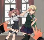 2girls akatsuki_(kantai_collection) anger_vein annin_musou atlanta_(kantai_collection) beans black_headwear black_legwear black_skirt blonde_hair blue_eyes blue_neckwear blue_skirt braid brown_hair buttons cape commentary_request curtains earrings eyebrows_visible_through_hair fingerless_gloves garrison_cap garter_straps gloves green_cape green_vest hat high-waist_skirt jewelry kantai_collection long_hair long_sleeves mamemaki multiple_girls necktie one_eye_closed partly_fingerless_gloves perth_(kantai_collection) plaid plaid_skirt pleated_skirt remodel_(kantai_collection) shirt short_sleeves skirt star star_earrings suspender_skirt suspenders thigh-highs twintails vest violet_eyes white_shirt window yuudachi_(kantai_collection)