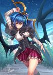 1girl adsouto ahoge bat_wings blue_hair blue_sky blush breasts demon_wings eyebrows_visible_through_hair green_hair high_school_dxd highres holding holding_sword holding_weapon huge_weapon kuoh_academy_school_uniform large_breasts large_wings looking_at_viewer multicolored_hair school_uniform short_hair skirt sky smile streaked_hair sword tree two-tone_hair weapon wings xenovia_quarta yellow_eyes