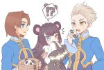 !? 1girl 2boys alvin_granford animal_ears basket black_hair blue_eyes chinese_clothes commentary heterochromia light_brown_hair long_hair mikhail_lancelot multiple_boys panda panda_ears panda_girl panunpa pop-up_story sleeves_past_fingers sleeves_past_wrists smile spoken_interrobang st._feles_gakuen_uniform sweatdrop symbol_commentary tao_taoxi tears yellow_eyes