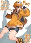 1girl anchor ankle_boots backpack bag bike_shorts black_gloves boots brown_eyes brown_hair commentary_request fingerless_gloves flat_chest gloves guilty_gear guilty_gear_strive hat hood hood_down long_hair may_(guilty_gear) neone orange_headwear orange_hoodie orange_shirt pirate_hat shirt skull_and_crossbones solo