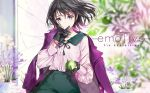1girl bangs black_gloves black_hair blue_eyes blurry blurry_background blush bracelet closed_mouth food fruit gloves highres holding holding_food holding_fruit jacket_on_shoulders jewelry looking_at_viewer mole mole_under_eye original pink_shirt purple_coat shirt short_hair smile solo tiv upper_body wind