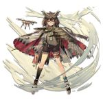 1girl angry anklet arknights bird bob_cut brown_hair cape choker cloak drone elite_ii_(arknights) facing_viewer feathered_wings feathers glasses glowing glowing_eyes high_collar jewelry lanyard norizc official_art owl red_cape shorts silence_(arknights) single_wing sweater vial visible_air wind wind_lift wings