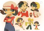 1girl 3boys :d ^_^ black_hair black_pants blonde_hair breasts closed_eyes crossed_arms crystal_(pokemon) emerald_(pokemon) gold_(pokemon) green_eyes grey_eyes hat hat_ribbon kicking long_hair looking_at_another looking_at_viewer medium_hair multiple_boys open_mouth pants pokemon pokemon_special red_ribbon ribbon shorts signature silver_(pokemon) sleeves_past_wrists small_breasts smile tokuura twintails white_headwear yellow_eyes yellow_headwear yellow_shorts