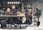 3girls apron arknights blonde_hair boots cake casual chair coat coffee coffee_shop comfy doughnut feathers food glass guitar highres horns ifrit_(arknights) instrument looking_at_another looking_at_viewer modern_architecture multiple_girls pale_skin pantyhose picture_(object) picture_frame plant platinum_blonde_hair ptilopsis_(arknights) red_eyes saria_(arknights) scarf shelf sign snack table yellow_eyes youamo