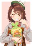 1girl bangs blush bob_cut brown_eyes brown_hair cardigan dress eyebrows_visible_through_hair fangs gen_8_pokemon green_headwear grey_cardigan grookey hat holding holding_pokemon kanae_sora long_sleeves looking_at_viewer open_mouth pink_dress pokemon pokemon_(creature) pokemon_(game) pokemon_swsh short_hair smile tam_o'_shanter yuuri_(pokemon)