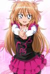 1girl black_legwear blue_eyes eyebrows frilled_skirt frills hair_between_eyes hair_ribbon highres houjou_hibiki long_hair long_sleeves looking_at_viewer manji_(tenketsu) open_mouth orange_hair pantyhose pink_ribbon pink_skirt precure ribbon skirt smile solo suite_precure upper_teeth