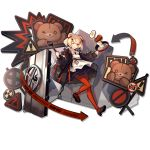animal_ears arknights bear_ears black_jacket blonde_hair cooking cyrillic dress food fried_egg frying_pan gum_(arknights) hair_ornament hair_ribbon hairclip holding_frying_pan jacket one_eye_closed orange_legwear oversized_clothes pale_skin pantyhose pumps red_eyes ribbon sailor_collar sailor_dress shield sign skade smile spatula steak stuffed_animal stuffed_toy teddy_bear warning_sign white_sailor_collar