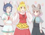 3girls :d ^_^ animal_ear_fluff animal_ears animal_print bangs black_hairband black_neckwear black_ribbon black_skirt black_vest blonde_hair blue_capelet blue_hair blush breasts capelet clenched_hands closed_eyes commentary_request cowboy_shot dress eyebrows_visible_through_hair fake_animal_ears fake_nose fake_tail frills green_sailor_collar grey_background grey_hair hair_between_eyes hair_ornament hairband hands_up jewelry long_sleeves midriff_peek mouse_ears mouse_tail multiple_girls murasa_minamitsu navel nazrin neck_ribbon neckerchief no_hat no_headwear o-ring open_mouth pendant puffy_short_sleeves puffy_sleeves red_dress red_eyes red_neckwear ribbon sailor_collar sailor_shirt shirt short_hair short_sleeves shorts simple_background skirt skirt_set small_breasts smile standing tail tiger_print toramaru_shou touhou utakata_(azaka00) vest whiskers white_shirt white_shorts wide_sleeves yellow_eyes