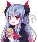 1girl :d absurdres aruko_(marco_to_ginga_ryuu) ascot bangs beamed_eighth_notes beniko_(ymdbnk) black_cape blue_hair blush cape collared_shirt commentary_request curled_horns eyebrows_visible_through_hair food food_on_face gradient_hair highres holding holding_food horns long_sleeves marco_to_ginga_ryuu multicolored_hair musical_note notice_lines open_mouth red_eyes red_neckwear redhead shirt simple_background sleeves_past_wrists smile solo upper_body v-shaped_eyebrows white_background white_shirt