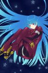 1girl bangs blue_background blue_hair bodysuit breasts floating_hair full_body gloves highres kula_diamond leg_hug long_hair medium_breasts murata_tefu open_mouth parted_lips red_bodysuit red_eyes signature simple_background snowflakes solo the_king_of_fighters very_long_hair yellow_gloves