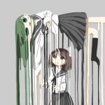 2girls :o aqua_eyes bangs black_legwear black_neckwear black_ribbon blush_stickers brown_eyes brown_hair d: floating green_hair grey_background grey_sailor_collar grey_skirt hand_up hands_up highres kneehighs long_sleeves looking_at_another looking_at_viewer looking_up melting multiple_girls neck_ribbon no_lineart no_nose no_shoes open_mouth original outstretched_arm parted_bangs pleated_skirt ribbon sailor_collar school_uniform serafuku shirt short_hair simple_background skirt sleeves_past_wrists surreal tareme tsukumizu_yuu white_shirt