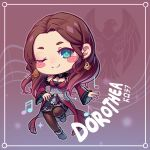 1girl blush_stickers brown_hair character_name chibi closed_mouth dorothea_arnault dress earrings fire_emblem fire_emblem:_three_houses green_eyes jewelry kaijuicery long_hair long_sleeves one_eye_closed smile solo twitter_username