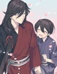 2boys ^_^ black_hair blue_eyes blush closed_eyes earrings flower hair_ribbon hebino_rai holding_hands horikawa_kunihiro izumi-no-kami_kanesada japanese_clothes jewelry kimono male_focus multiple_boys open_mouth ribbon ring smile stud_earrings touken_ranbu yaoi yukata