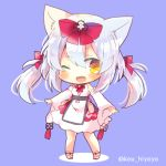 1girl ;d animal_ears azur_lane bangs blush bow brown_eyes cat_ears chibi commentary_request detached_sleeves dress eyebrows_visible_through_hair full_body hair_between_eyes hair_bow kouu_hiyoyo long_hair long_sleeves looking_at_viewer lowres one_eye_closed open_mouth purple_background red_bow sidelocks silver_hair sleeveless sleeveless_dress smile solo standing twintails twitter_username white_dress white_sleeves wide_sleeves yukikaze_(azur_lane)