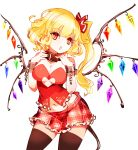1girl alternate_breast_size alternate_costume bangs bare_arms bare_shoulders black_legwear blonde_hair breasts chain collar commentary_request cowboy_shot crystal cuffs eyebrows_visible_through_hair flandre_scarlet groin hands_up head_tilt heart_cutout highres large_breasts long_hair looking_at_viewer miniskirt navel no_hat no_headwear no_nose one_side_up open_mouth plaid plaid_skirt pointy_ears raptor7 red_collar red_eyes red_skirt shackles simple_background skirt solo standing strapless thigh-highs thighs touhou tubetop white_background wings zettai_ryouiki