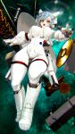 1girl blue_hair eyelashes floating floating_hair floating_object gloves gold_record highres hiragana_(gomasyabu) looking_at_viewer open_mouth original radio_dish short_hair solo space space_station spacesuit star star-shaped_pupils symbol-shaped_pupils white_gloves yellow_eyes