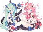 2girls :d asymmetrical_horns bangs bare_shoulders black_dress black_gloves black_legwear blade_(galaxist) blue_eyes blush bow breasts closed_mouth dress eyebrows_visible_through_hair fang flower garter_straps gloves green_hair hair_between_eyes hair_ornament honkai_(series) honkai_impact_3rd intertwined_tails liliya_olenyeva long_hair looking_at_viewer mechanical_horns mechanical_tail mismatched_gloves multiple_girls open_clothes open_dress open_mouth pink_hair polka_dot polka_dot_background red_bow red_flower red_rose rose rozaliya_olenyeva short_eyebrows siblings small_breasts smile sparkle symbol-shaped_pupils tail thick_eyebrows thigh-highs twins very_long_hair white_background white_legwear