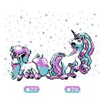 creature full_body galarian_ponyta galarian_rapidash highres horn no_humans number pixel_art pokemon pokemon_(creature) pokemon_number sindorman sparkle unicorn white_background