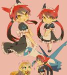 :d ^_^ apron bangs black_dress blonde_hair closed_eyes dress emerald_(pokemon) green_eyes highres latias latios legendary_pokemon long_hair looking_to_the_side maid maid_apron maid_headdress open_mouth personification pink_background pokemon pokemon_special red_eyes redhead short_sleeves simple_background smile standing tied_hair tokuura twintails very_long_hair