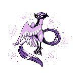 bird bird_focus claws full_body galarian_articuno galarian_form highres monochrome no_humans pixel_art pokemon pokemon_(creature) purple_theme simple_background sindorman solo white_background