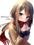 1girl bangs blush brown_hair brown_jacket closed_mouth commentary eyebrows_visible_through_hair fingernails fringe_trim green_eyes hands_up highres jacket long_hair long_sleeves looking_at_viewer nail_polish original pink_nails plaid plaid_scarf red_scarf rukinya_(nyanko_mogumogu) scarf simple_background sleeves_past_wrists smile solo symbol_commentary twitter_username upper_body white_background