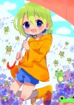 1girl :d absurdres beamed_eighth_notes blue_eyes blue_shorts blush boots day frog green_hair highres jumping music musical_note open_mouth original outdoors quarter_note raincoat red_umbrella rubber_boots short_hair shorts singing smile umbrella wenicon_0410