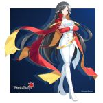 belt black_hair breasts cape dress highres large_breasts long_hair looking_down maemi_(maemi12) maplestory pants pointy_ears red_cape simple_background white_dress white_footwear white_pants