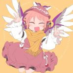 1girl animal_ears blush brown_dress brown_headwear closed_eyes commentary_request cowboy_shot double_w dress earrings eyebrows_visible_through_hair facing_viewer fang feathered_wings frills hands_up happy ini_(inunabe00) jewelry long_sleeves mystia_lorelei open_mouth pink_hair scarf shirt short_hair single_earring skin_fang smile solo touhou w white_shirt winged_hat wings yellow_background yellow_scarf