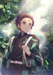 1boy black_jacket black_pants brown_hair closed_mouth cowboy_shot forest haori jacket japanese_clothes kamado_tanjirou kimetsu_no_yaiba male_focus nanase_(7749222) nature outdoors pants red_eyes scar smile solo standing