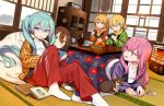 1boy 4girls aqua_hair blonde_hair blue_eyes brown_eyes brown_hair cabinet closed_mouth controller cookie crayon_shin-chan dog expressionless food food_in_mouth fruit game_controller hair_ornament hairclip handheld_game_console hanten_(clothes) hatsune_miku heater highres holding holding_game_controller indoors jar kagamine_len kagamine_rin kotatsu long_hair looking_at_another looking_back lying mandarin_orange megurine_luka meiko multiple_girls on_stomach open_mouth orange_scarf pants pillow pink_hair red_pants sama scarf shin-chan shirt short_hair short_ponytail sitting smile sticker table tatami twintails very_long_hair vocaloid white_shirt yellow_scarf