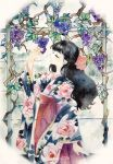 1girl black_hair bow closed_eyes floral_print food fruit grapes hair_bow hakama hand_up japanese_clothes kimono kimonohime long_hair original red_hakama solo stained_glass standing twitter_username watermark window