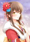 1girl :d akagi_(kantai_collection) brown_hair eyebrows_visible_through_hair floral_print flower fur_trim hair_flower hair_ornament japanese_clothes jewelry kantai_collection kimono long_hair looking_at_viewer muneate open_mouth red_kimono ring rui_shi_(rayze_ray) smile solo upper_body wedding_band