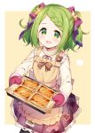 1girl :d apron bangs beige_background black_legwear blush bow braid brown_apron commentary_request eyebrows_visible_through_hair food frilled_apron frills green_eyes green_hair hair_bow hair_ornament hair_ribbon highres holding long_sleeves looking_at_viewer meito_(maze) morinaka_kazaki neck_ribbon nijisanji open_mouth oven_mitts pantyhose plaid plaid_skirt pleated_skirt purple_ribbon purple_skirt ribbed_shirt ribbon shirt skirt smile solo star star_hair_ornament striped striped_bow swept_bangs two-tone_background virtual_youtuber white_background white_shirt