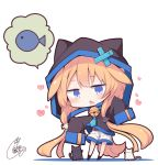 1girl animal animal_ears animal_hood bell beni_shake black_cat black_jacket black_legwear blonde_hair blue_eyes blue_neckwear blush cat cat_hood chibi colored_shadow commentary_request fake_animal_ears fang fish_hair_ornament full_body hair_ornament heart hood hood_up hooded_jacket jacket jingle_bell long_hair long_sleeves low_twintails no_shoes open_mouth original shadow short_shorts shorts signature sleeves_past_fingers sleeves_past_wrists socks solo spoken_animal standing twintails very_long_hair white_background white_cat white_shorts