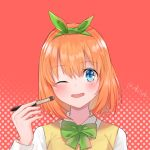 1girl bangs blue_eyes blush bow bowtie collared_shirt cosmetics eyebrows_visible_through_hair go-toubun_no_hanayome green_bow green_hairband green_ribbon hair_ribbon hairband halftone halftone_background holding_brush long_sleeves looking_at_viewer nakano_yotsuba oenothera one_eye_closed open_mouth orange_hair ribbon shirt short_hair sidelocks solo sweater sweater_vest twitter_username upper_body white_shirt yellow_sweater