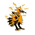 bird bird_focus claws full_body galarian_form galarian_zapdos highres monochrome no_humans pixel_art pokemon pokemon_(creature) simple_background sindorman solo white_background yellow_theme