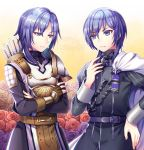 2boys armor arrow cape confused epaulettes fingerless_gloves fire_emblem fire_emblem:_three_houses garreg_mach_monastery_uniform gloves leon_(fire_emblem) long_hair look-alike looking_at_another male_focus medium_hair multiple_boys nervous ornament purple_hair quiver short_hair simple_background smk023 sweat uniform upper_body violet_eyes yuri_(fire_emblem)