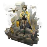 1girl arknights bob_cut box brown_hair cardboard_box case drone duct_tape face_mask frown gas_can glasses hazmat_suit highres jacket lanyard logo mask norizc official_art originium_(arknights) oxygen_tank rhine_lab_logo ruins safety_glasses sign silence_(arknights) sweatdrop translucent vial warning_sign yellow_jacket