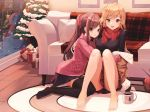 2girls bangs barefoot black_legwear black_skirt black_sweater blonde_hair breasts brown_eyes brown_hair christmas_tree commentary couch eyebrows_visible_through_hair gift hair_ornament hairclip highres indoors large_breasts long_hair looking_at_viewer multiple_girls munseonghwa no_shoes open_mouth original ponytail ribbed_sweater scarf skirt smile snow sweater thigh-highs yellow_eyes