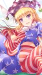 1girl american_flag_dress american_flag_legwear blonde_hair blue_background breasts clownpiece commentary_request fairy_wings hat highres jester_cap long_hair looking_at_viewer lzh midriff_peek navel neck_ruff no_shoes open_mouth pantyhose polka_dot purple_hair short_sleeves sitting small_breasts smile solo star star_print striped touhou violet_eyes wings