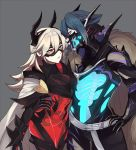 1boy 1girl armor artist_name black_armor black_mask_(clothing) blue_hair bone breastplate cape commentary domino_mask earrings english_commentary eyebrows_visible_through_hair face_mask fire_emblem fire_emblem_heroes fur-trimmed_cape fur_trim gauntlets gradient_hair grey_hair hair_between_eyes horned_mask horns hug jewelry lazymimium lif_(fire_emblem) lips long_hair looking_at_another mask masked multicolored_hair pale_skin parted_lips red_eyes short_hair shoulder_armor simple_background skeleton thrasir_(fire_emblem) twitter_username white_cape