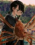 1girl absurdres animal bangs black_hair blue_eyes blurry blurry_background crab glasses highres holding holding_animal huge_filesize jacket katakai low_twintails original outdoors red_neckwear twintails upper_body
