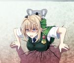 1girl 1other animal blonde_hair blue_neckwear braid braided_bun buttons cape commentary_request cracked_wall eyebrows_visible_through_hair green_cape green_vest highres kantai_collection koala necktie open_mouth perth_(kantai_collection) shaded_face shirt short_hair short_sleeves stuck through_wall tk8d32 trapped vest violet_eyes white_shirt