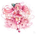 1girl :d absurdres bettle_(b_s_a_n) blush butterfly_hair_ornament dress dress_bow flower_knight_girl full_body gloves hair_ornament hanamomo_(flower_knight_girl) heart heart_hands highres long_hair looking_at_viewer open_mouth pink_dress pink_skirt simple_background skirt smile solo standing standing_on_one_leg thigh-highs twintails very_long_hair violet_eyes white_background white_gloves white_legwear