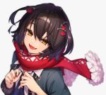 1boy androgynous black_coat black_hair blush earrings fangs flower jewelry long_sleeves mashiro_(nijisanji) nail_polish nijisanji open_mouth red_nails red_scarf scarf simple_background smile upper_body virtual_youtuber white_background yellow_eyes zumi_tiri