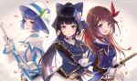 3girls aoi_(kirabosi105) aoi_ch. bangs beige_background belt black_hair blue_eyes blue_hair blue_jacket bow brown_hair closed_mouth commentary_request cowboy_shot fuji_aoi gloves hair_ornament hair_ribbon hat high_ponytail holding hololive jacket long_hair long_sleeves looking_at_viewer mole mole_under_eye multiple_girls open_mouth ponytail ribbon sheath sheathed short_hair sleeve_cuffs smile suntory suntory_nomu sword tokino_sora tokino_sora_channel twitter_username umbrella virtual_youtuber weapon white_gloves white_jacket