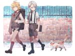 2boys black_legwear blonde_hair blue_eyes cat child collared_shirt fence grass grey_legwear gyuunyuu_(mashika) highres kneehighs loafers male_focus multiple_boys nansen_ichimonji necktie shirt shoes shorts sleeve_tug suspenders sweater_vest touken_ranbu walking white_hair yamanbagiri_chougi yellow_eyes younger