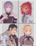 2boys 2girls abs absurdres aiokosaio balthus_(fire_emblem) black_hair blonde_hair cape chain closed_mouth collage constance_(fire_emblem) dark_skin earrings epaulettes fan fire_emblem fire_emblem:_three_houses garreg_mach_monastery_uniform hairband hapi_(fire_emblem) highres jewelry long_hair looking_at_viewer medium_hair midriff multicolored_hair multiple_boys multiple_girls open_clothes open_mouth open_shirt ornament purple_hair red_eyes redhead short_hair sideburns simple_background smile two-tone_hair uniform upper_body violet_eyes white_background yuri_(fire_emblem)