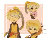 1girl ^_^ blonde_hair blush closed_eyes creature facing_viewer fishing_rod flat_chest gen_1_pokemon grey_eyes hat holding holding_fishing_rod holding_pokemon mouse multiple_views pokemon pokemon_(creature) pokemon_special ponytail rattata straw_hat yellow_(pokemon)